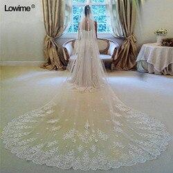 Em Estoque 3 Metros de Casamento Longo Véu de Noiva Véus Branco/Marfim Borda Do Laço Com Pente Acessórios Do Casamento Véu de Sarau