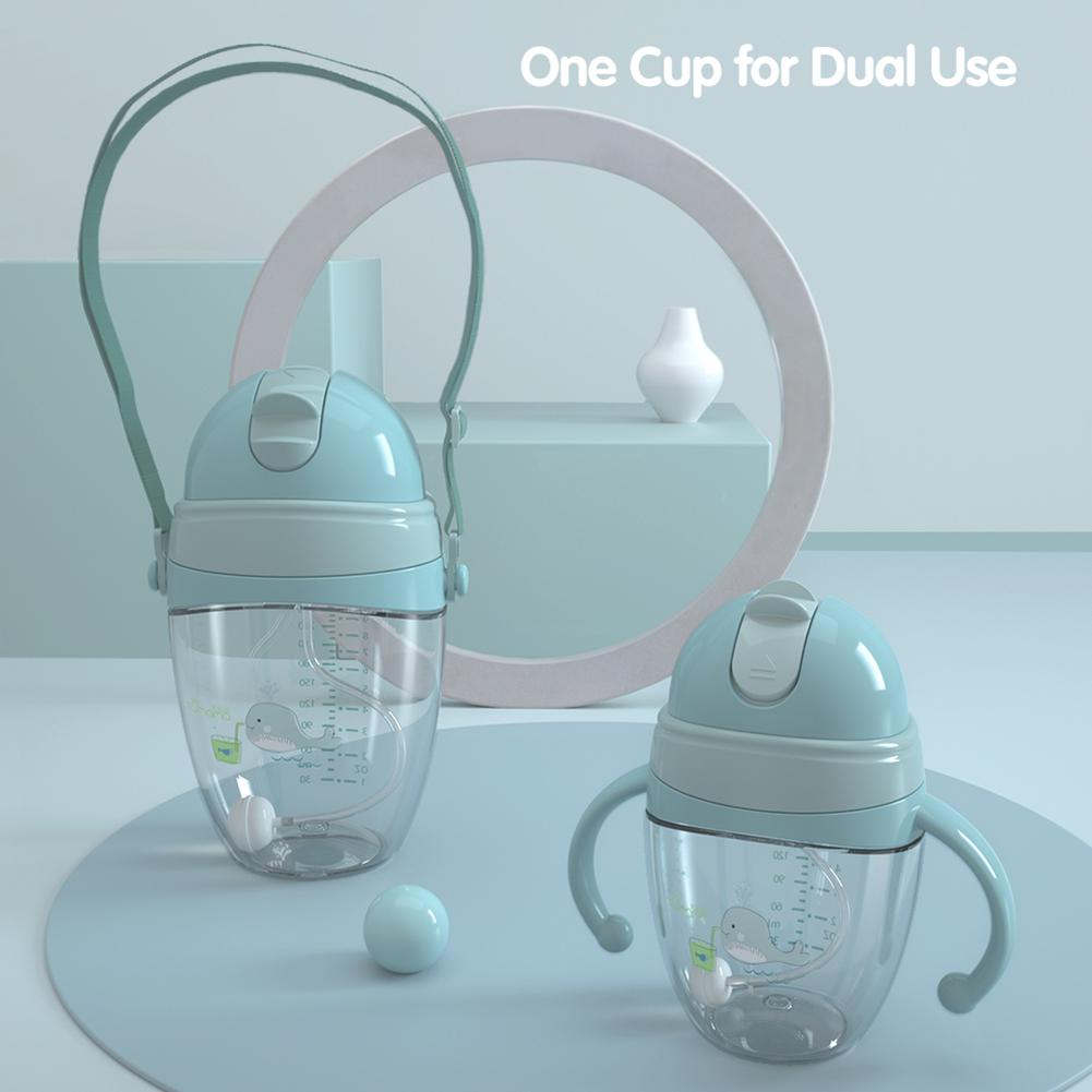 Tumama Portable Baby Dual Handle Water Milk Feeding Straw Cup Duck Mouth Bottle For Chidlren