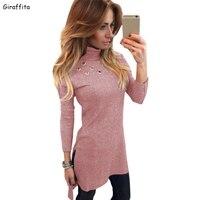 Осень-зима Для женщин тонкий одежда с длинным рукавом Высокий воротник шить, тонкое платье плюс Размеры размеры S M L XL тонкий длинный сексуал...