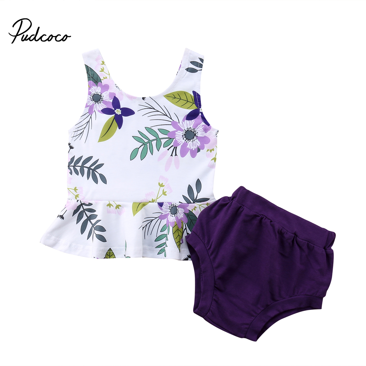 Pudcoco 2018 Newborn Toddler Baby Gir Clothes Sets Floral Print Sleeveless Tops T-shirt + PP Shorts 2Pcs Outfits Sunsuit