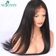 xcsunny 13X6 Priešais išpjovus nėrinius priekinius žmogaus plaukų perukus su kūdikių plaukais Natūralus juodas šilkas Straight Remy Brazilijos plaukai moterims