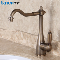 Antique European Style Kitchen Faucet Antique Wash Dish Basin Faucet Retro Green Copper Trough Faucet