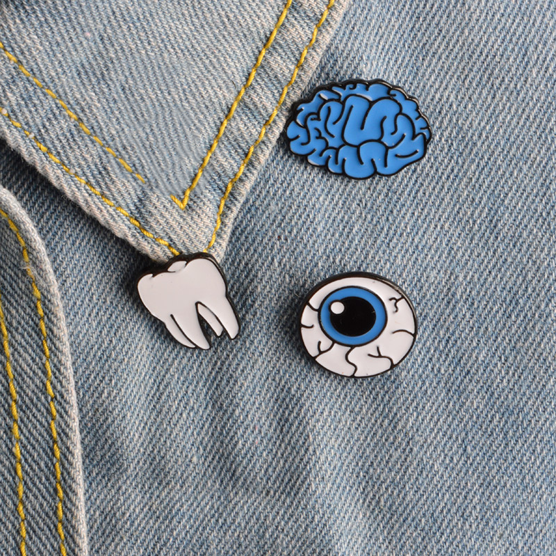 Cartoon Cute Organ Brain Eye Tooth Metal Brooch Pins Button Pins Brooch Denim Jacket Pin Badge Funny Gift Fashion Jewelry