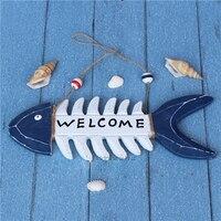 Home Furnishing Mediterranean wooden signboard crafts decorative ornaments marine fish photo wall