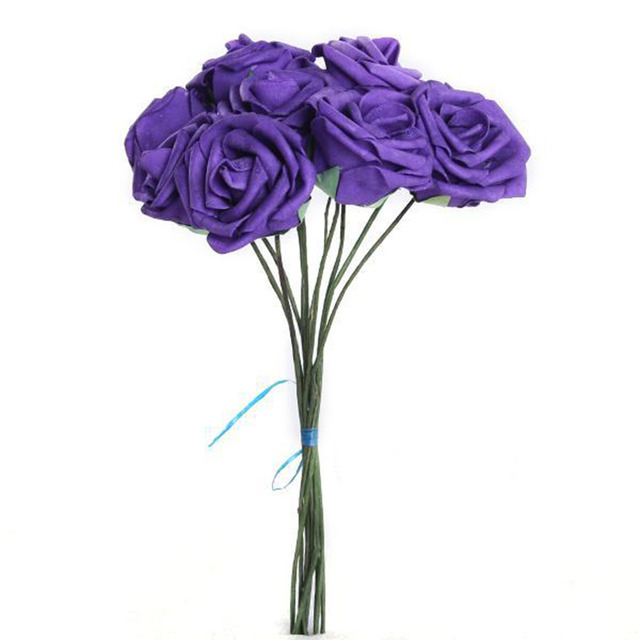 Free Shipping New 7cm Purple Artificial Flowers Fake Rose Flower Bouquet Home Party Decor For Wedding