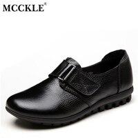 MCCKLE Kadın Düz Kayma-On Hakiki Deri Kanca Döngü Rahat Siyah Ayakkabı 2017 Kadın Moda Platformu Ofis Sonbahar Ayakkabı