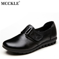 MCCKLE Women Slip On Genuine Leather Buckle Shoes Female Spring Autumn Solid Comfortable Flat Woman Plus