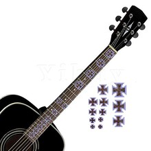Yibuy Guitar Inlay Sticker Fretboard Notes DIY Marker for Bass Yellow Crucifix