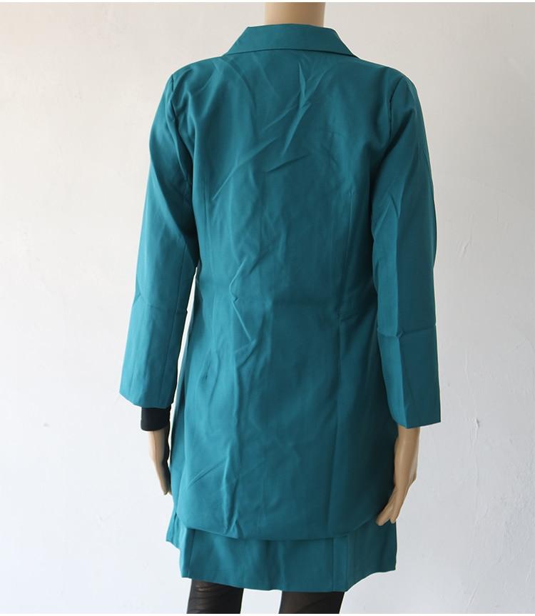 Autumn Business Suit Elegant Office Dress Lady Work 2 Pieces Set Long Sleeve Blazer and Sleeveless Dress Suit Set 40