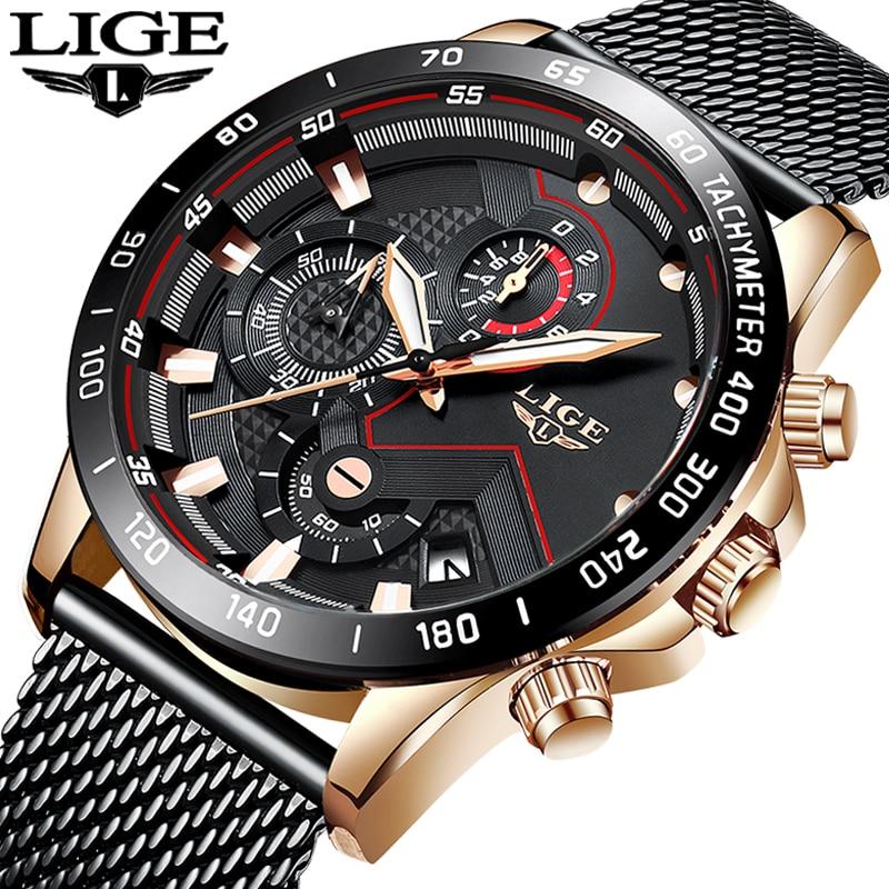 LIGE New Top Brand Mens Watches Luxury Quartz Clock Mesh Steel Date Chronograph Waterproof Sport Watch For Men Relogio Masculino