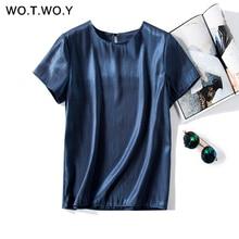 WOTWOY Кнопка яркие тканые футболки женские летние Повседневное тонкий хлопок футболка с короткими руками женские цвет: желтый, белый; о до образный вырез;