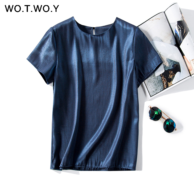 WOTWOY Basic Button Bright Woven T-shirts Female Summer Casual Slim Cotton Short Sleeve Tee Shirt Woman Yellow White O-Neck Tops