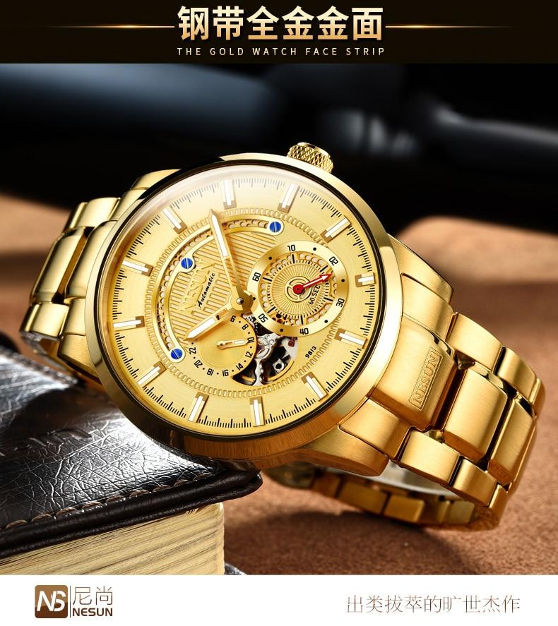 Luxury Brand NESUN Swiss Men's Watch Automatic Mechanical 1