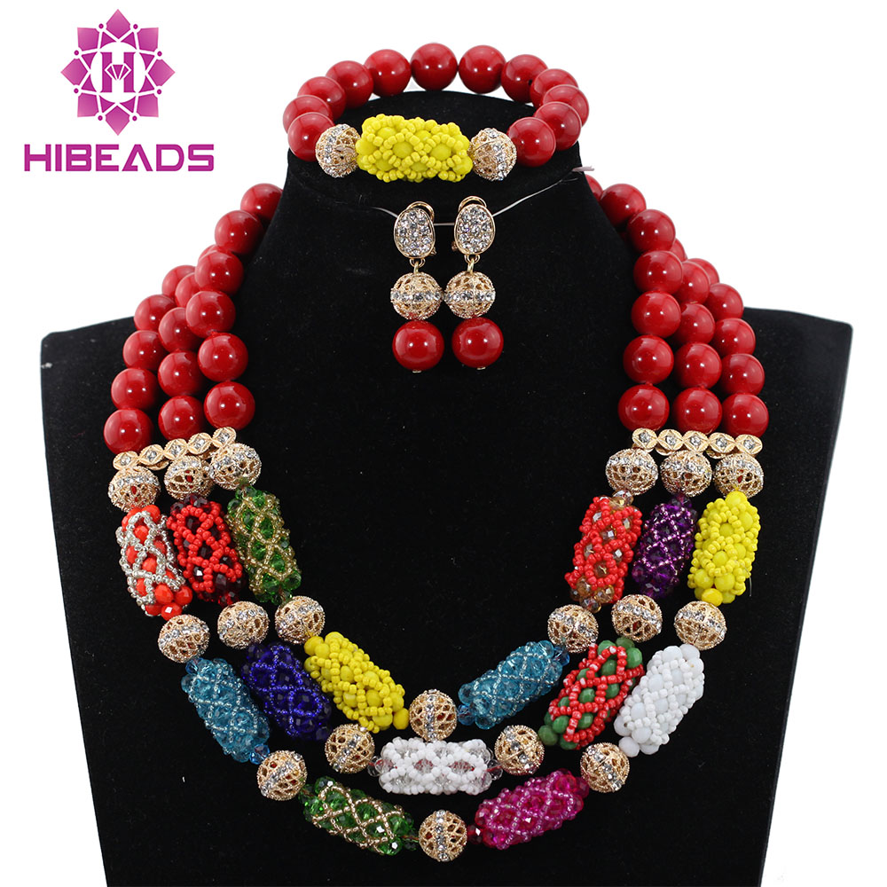 Red African Beads Jewelry Set Multicolor Crystal Beaded Chunky Statement Necklace Set Valentines Day Gift Free Shipping ABH309 custom red valentines day gift for men