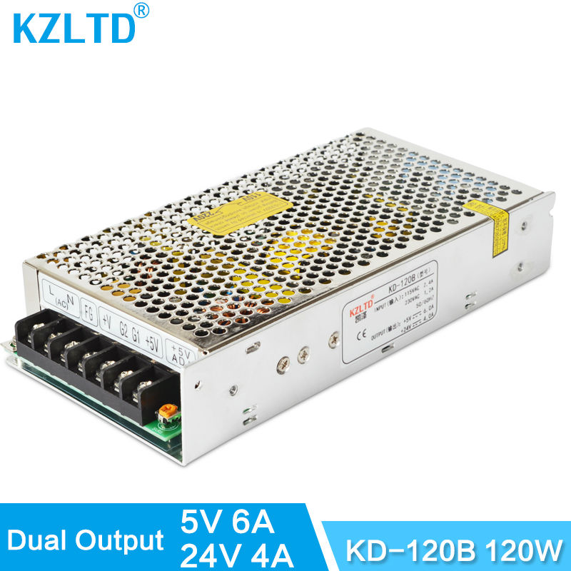 Double Output Regulated Switching Power Supply 5V 24V 120W AC DC Transformador 220V 110V to 5V / 24V Power Adapter High Quality