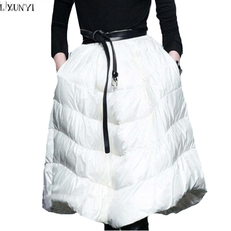 LXUNYI 2019 Autumn Winter White Duck Down Skirt Women High Waist Fashion Ball Gown Skirt Thick Warm A Line Skirts Womens Midi