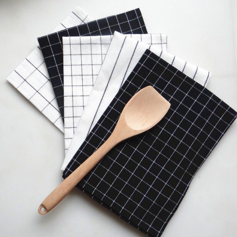Reusable Kitchen Textile Napkin Ins Wind Simple Design Checks And Stripes Napkin Home Use Kitchen Towel 40x60 NP0804