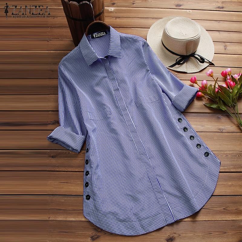 Plus Size 2018 ZANZEA Women Plaid Checked Blouse Casual Autumn Lapel Neck Long Sleeve Buttons Top Vintage Work Office Blusas