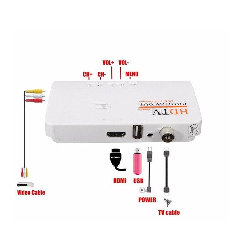 DVB-T/DVB-T2 TV Box tuner Receiver HDTV AV CVBS & 1080P HD TV Satellite Receiver for PC LCD/CRT monitors DVBT2 without VGA