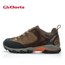 Clorts Men Waterproof Outdoor Hiking Shoes For Men Breathable Sport Shoes Men Leather Mountaineering Climbing Trekking Shoes Men