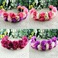 Subiu Coroa de Flores Guirlanda Floral Hairbands Headbands para As Mulheres de Casamento Festival Duplo Row