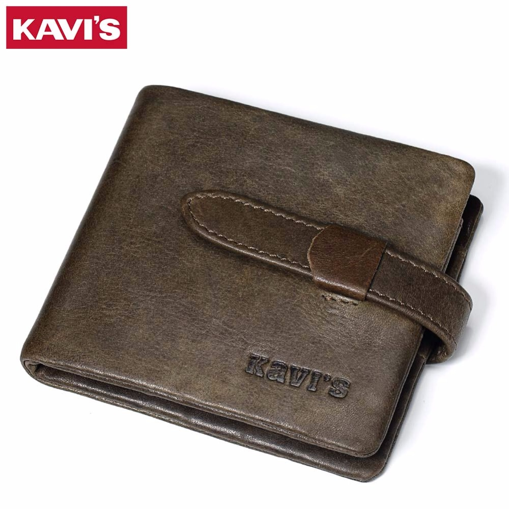 все цены на KAVIS Top Quality New Arrival Genuine Leather Man Wallet Standstone Men Wallets Luxury Dollar Price Vintage Male Purse Coin Bag онлайн