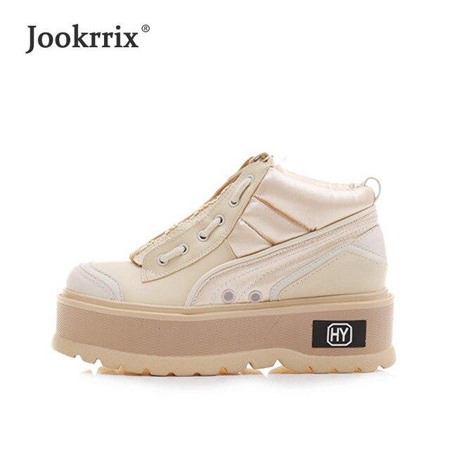 Jookrrix/зимняя женская обувь, модные брендовые сникерсы на платформе, женские повседневная обувь с перекрестной шнуровкой, осенняя женская теплая обувь