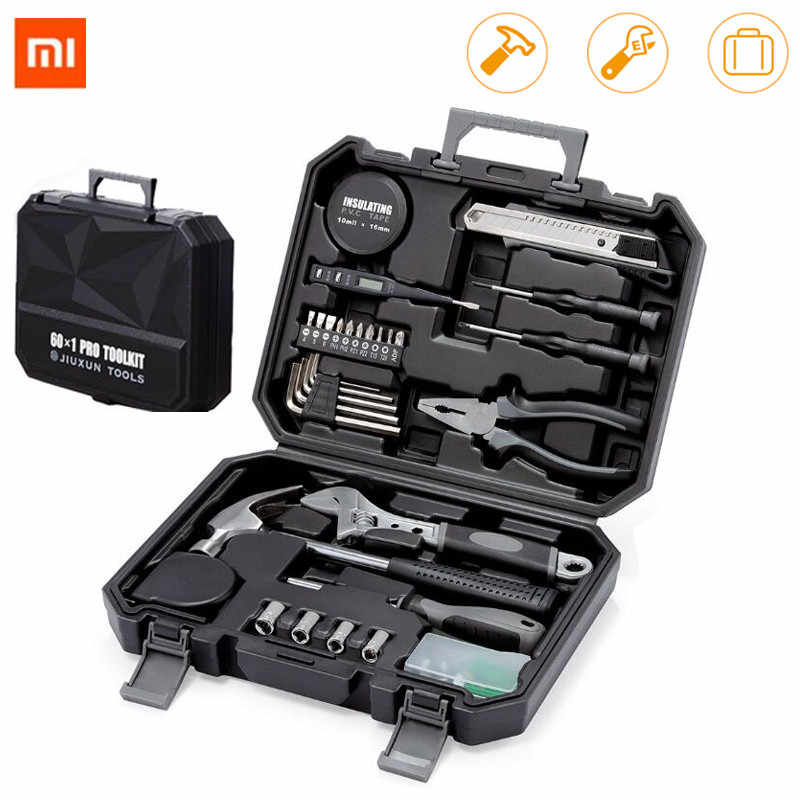 XIAOMI JIUXUN 12/60Pcs Hand Tool Set General Household Repair Hand Tool Kit with Toolbox Storage Case Wrench Hammer Tape Plier K