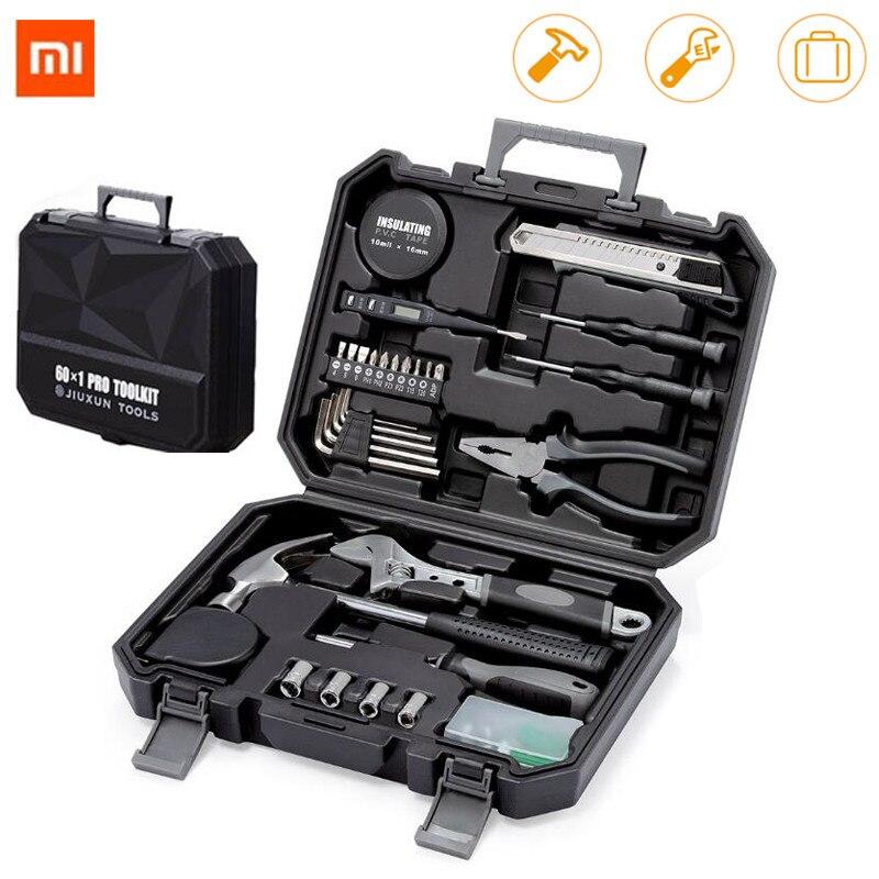 Xiaomi jiuxun 12/60 pçs conjunto de ferramentas manuais de reparo doméstico geral kit de ferramentas de mão com caixa de ferramentas de armazenamento chave martelo fita alicate k