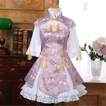 Chinese Winter Cheongsam Pink Lolita Dress Middle Length Sleeve Dress Cosplay Costume A