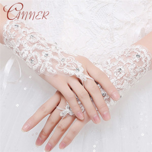 CANNER Women White Bridal Wedding Gloves Embroidery Lace Glitter Sequin Elbow Length Costume Prom Party Solid Color Bride Gloves