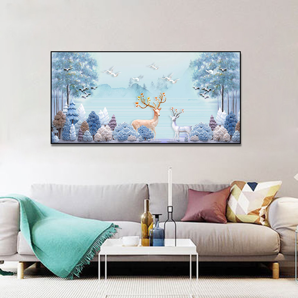 Unframed 3 HD Canvas Prints Deer and Lake Giclee Wall Decor Living Room Decoration Mural Module Art Spray Painting Free Shipping