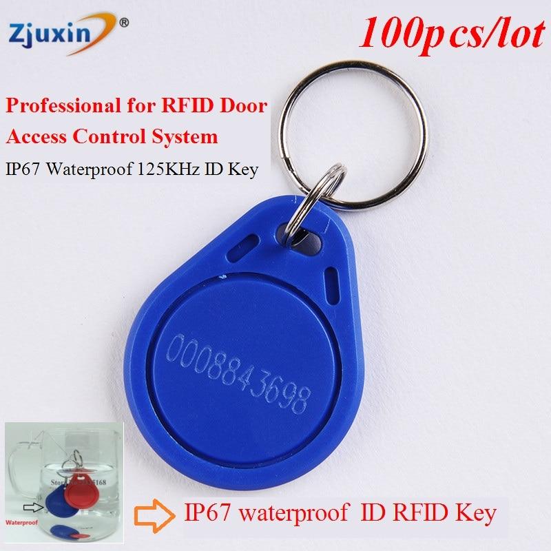 100pcs/lot 125Khz RFID Kimlik anahtar kart Card TK4100 Chip Waterproof  IP67 RFID  ID karta-klucz fobs Ring for AccessControl karta pomoshhi opolcheniyu