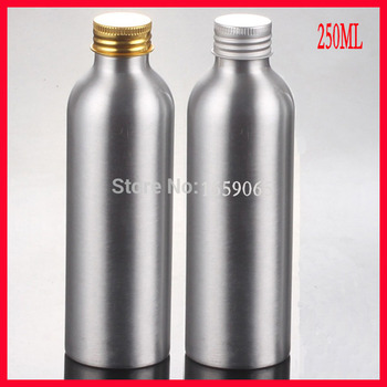 250ml Aluminium bottle metal bottle lotion bottle with gold /silver lid makeup Refillable Bottles CONTAINER FOR COSMETIC