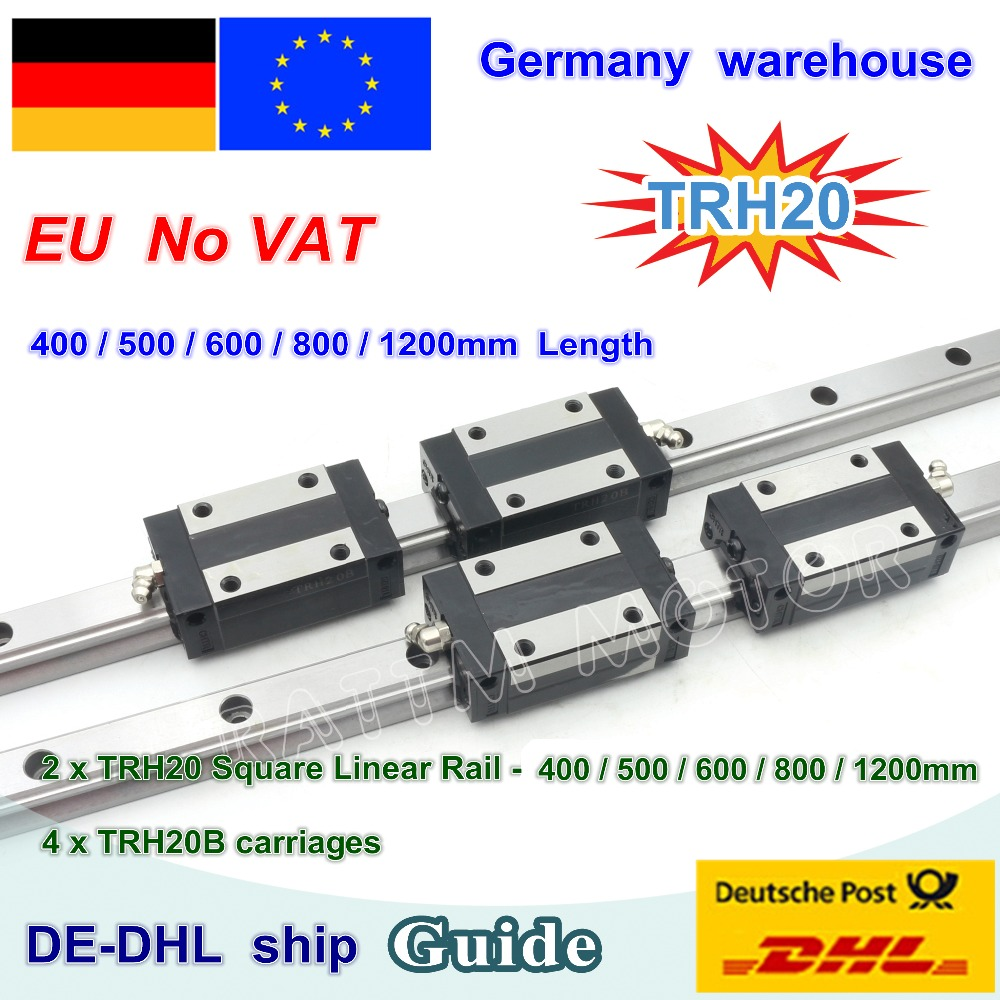DE free VAT 20mm Square Linear Guide Rail TRH20 400 500 600 800 1200mm TRH20B Carriages