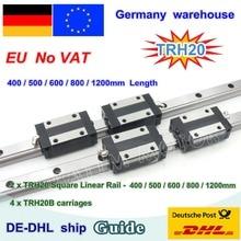 【DE VAT】 20 мм квадратная линейная направляющая TRH20-400 500 600 800 1200 мм& TRH20B коляски Квадратный Блок для фрезерный станок с ЧПУ