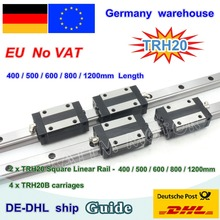 【DE free VAT】 20mm Square Linear Guide Rail TRH20   400 500 600 800 1200mm & TRH20B Carriages Square Slider Block for CNC Router