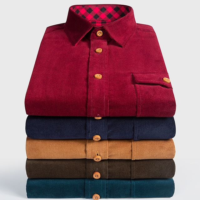 Brand 100% Cotton Corduroy Mens Dress Shirts Solid Color Men Thickening Long Sleeve Flannel Casual Shirt Men Camisa 5