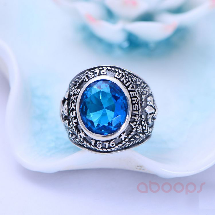 Vintage Black 925 Sterling Silver Blue Crystal Class Ring Jewelry with Eagle for Men Boys Size 8 9 10 11 11 5 Free Shipping in Rings from Jewelry Accessories