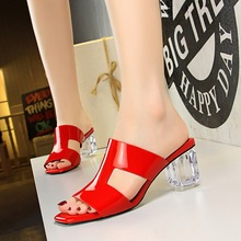 clear high heels best sellers Female Sandals Platform slippers summer gladiator sandals Crystal Transparent Square Head ladies