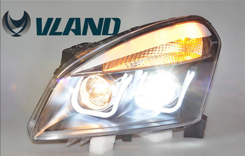 Free Shipping Vland factory LED Headlamp for Qashqai 2008-2012 Xenon Lamp With LED Double U Daytime Running Light plug and play free shipping 2pcs lot t10 ba9s car led lamp light 12v parking lamp light bulb for nissan qashqai with xenon terrano3 xtrail