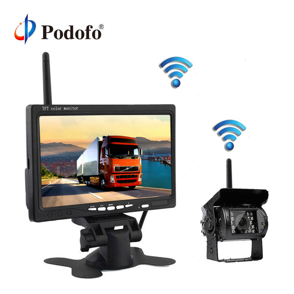 Podofo Wireless Reverse Reversing Camera 7 HD TFT LCD Car Monitor for Truck Bus Caravan RV Van Trailer Vehicle Rear View Camera byncg wireless car reverse reversing dual backup rear view camera for trucks bus excavator caravan rv trailer with 7 monitor