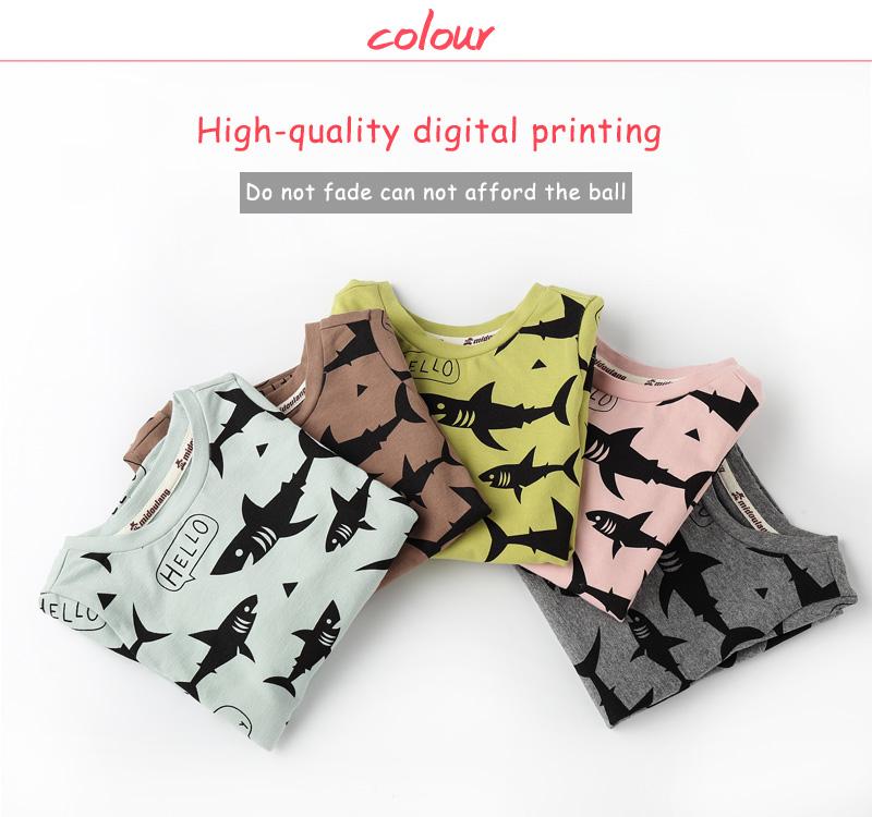 9cd050e88af0 Boys Shark Long Sleeve Tops Baby Girls Shirts Tiny Cottons Autumn ...