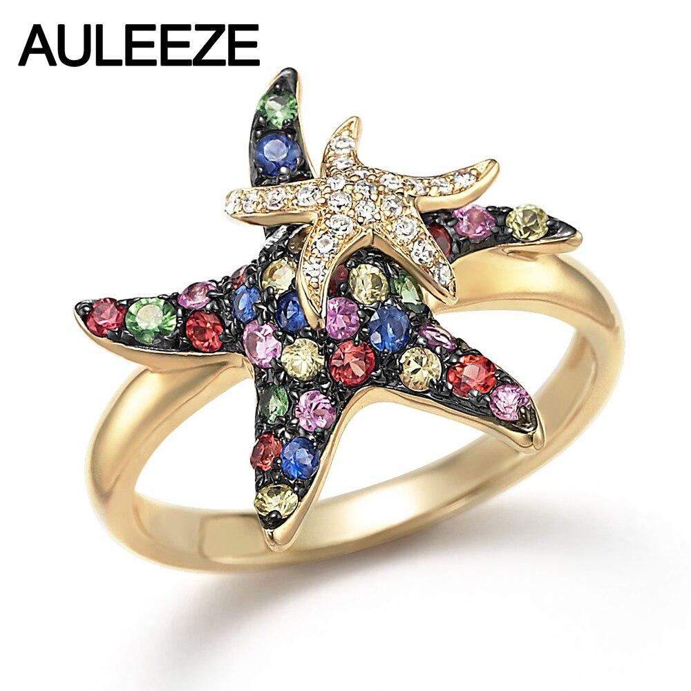 Природные Multi Сапфир настоящий бриллиант Морская звезда прекрасный Кольца в 9 К желтого золота Кольца для леди драгоценный камень Ювелирные...