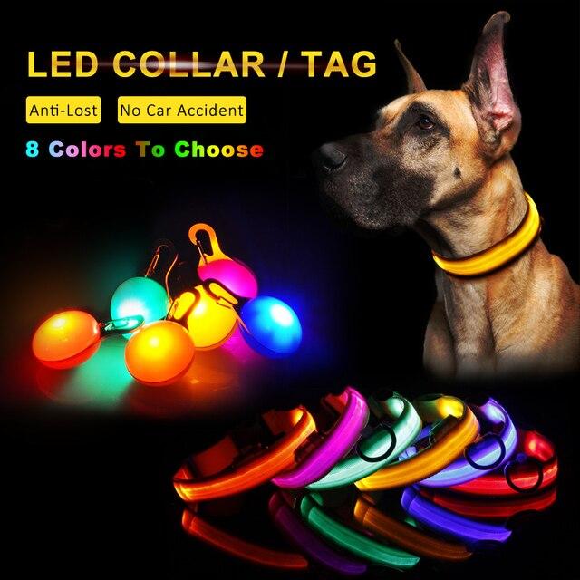Collare di Cane Led di Nylon Solido Luce Collari Per Cani Gatto Regolabile Colla
