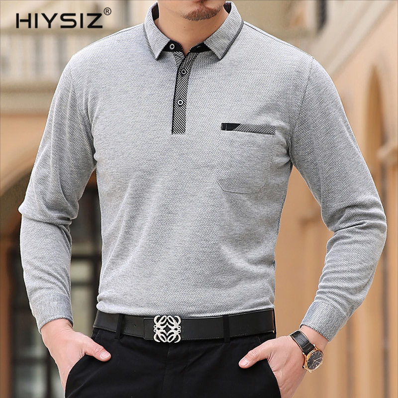 HIYSIZ New T-Shirt 2019 Causal Streetwear Wave Stripe Long Sleeves Turn-down T Shirts Tops Brand Contracted Fashion Trend LT001