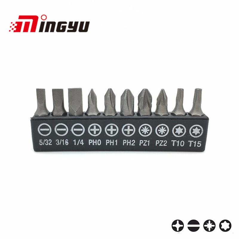 Reasonable 10pcs 1/4 Screwdriver Bits Tools Set Kit 25mm Screwdriver Hand Tools sl4 Sl5 Sl6 Ph0 Ph1 Ph2 Pz1 Pz2 T10 T15