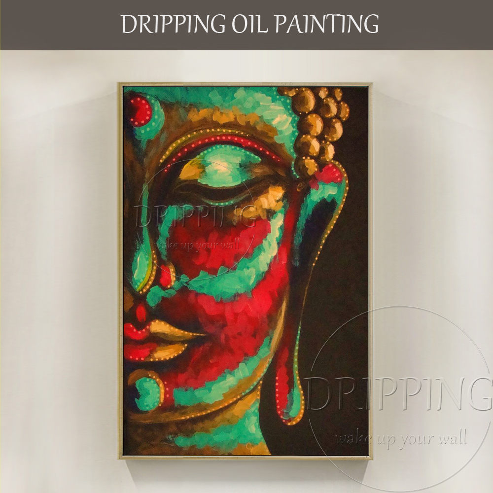New Painting Hand-painted Abstract Colors Buddha Portrait Oil Painting on Canvas Religion Abstract Buddha Head Oil Painting
