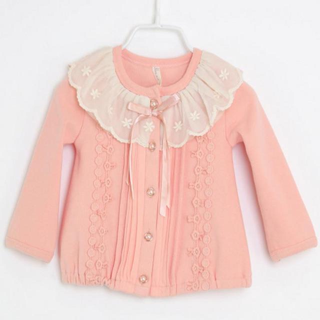 Frete grátis 2016 new baby meninas clothing manga comprida casacos primavera/outono o-pescoço casaco de algodão babys roupas