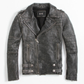 FREE SHIPPING 2017 New Men Vintage Black Leather Motorcycle Jacket Real Cowhide Diagonal Zipper Short Men Slim Fit Biker Coat